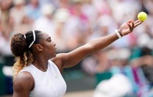 Venus Williams serves to Barbora Srtycova.