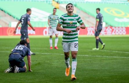 Celtic winger Mohamed Elyounoussi celebrates after scoring his side's third goal.