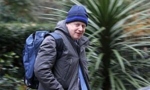 Boris Johnson leaves Downing Street after talks with David Cameron.