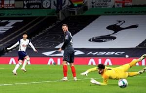 Tottenham Hotspur's Son Heung-min watches his shot go wide.