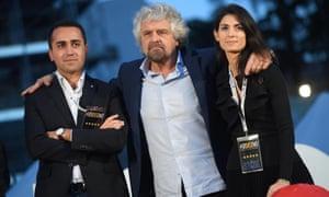 Luigi Di Maio, Beppe Grillo and Virginia Raggi