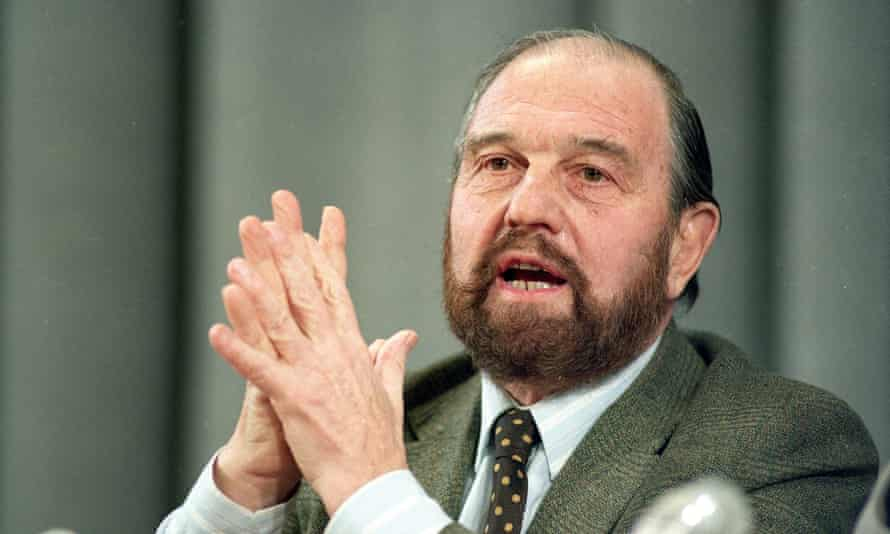 "George Blake at a press conference in Moscow, 1992. He continued to live in Russia after the end of the cold war, and Vladimir Putin praised his ""enormous contribution to the preservation of peace""."
