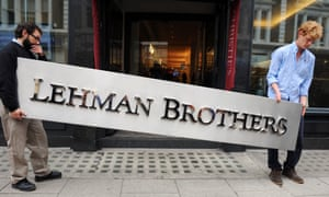 A Lehman Brothers office sign heads for the auction room