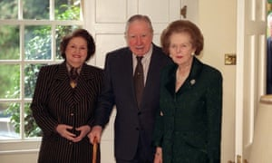 Thatcher with Pinochet and his wife in 2000 in Surrey, where the former Chilean dictator was under house arrest. Thatcher wrote: 'Scotch is one British institution that will never let you down.'