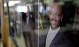 A portrait of the Reverend Clementa Pinckney hangs on a wall in the basement where he and eight other people were killed