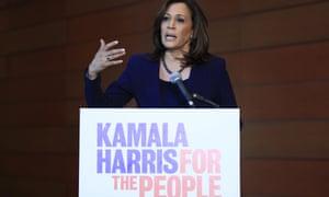 Senator Kamala Harris, Democrat of California, speaks to members of the media at her alma mater, Howard University, in Washington DC, on Monday.