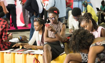 Young Nigerian woman at a social media conference in Lagos.