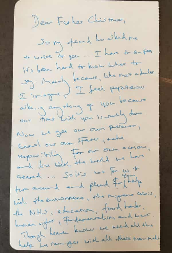 Benedict Cumberbatch's handwritten letter to Father Christmas.