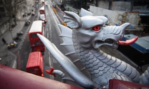 A traditional dragon statue marking the boundary of the City of London.