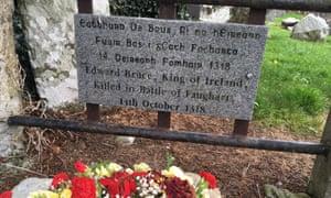 Inscription above Edward Bruce's grave in Faughart.