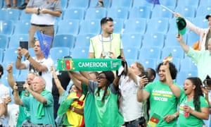 The Cameroon fans are pretty happy too.
