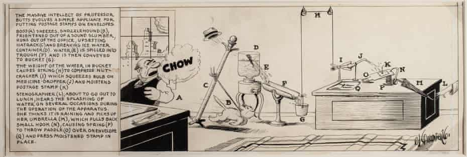 Rube Goldberg, Professor Butts invention drawing (postage stamps), 1929. Ink on paper.