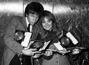 Pop singers Scott Walker and Lulu clutching their awards at the St Valentine's Day Presentation party, 1968