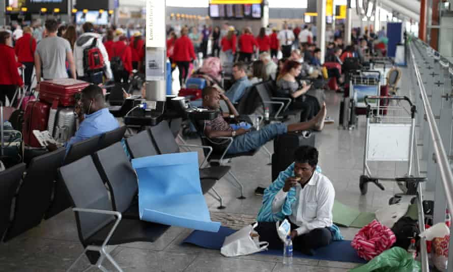 Passengers stranded at Heathrow over the bank holiday weekend.