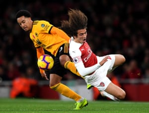Arsenal's Matteo Guendouzi is taken out by Wolves' Hélder Costa of Wolverhampton Wanderers during the 1-1 draw at The Emirates Stadium. Ivan Cavaleiro's opening goal was the first time Wolves have taken the lead against Arsenal in a Premier League match.