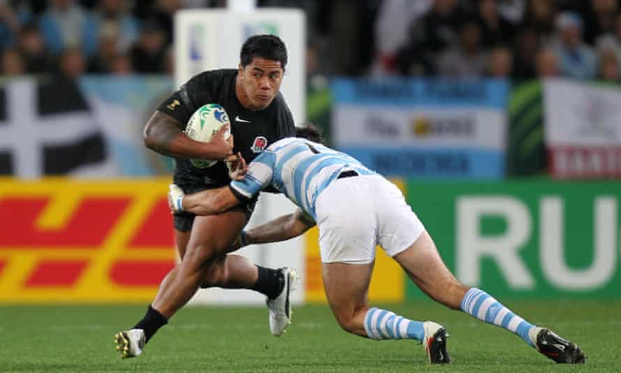 Manu Tuilagi is tackled by Gonzalo Tiesi during his World Cup debut against Argentina in Dunedin in 2011.