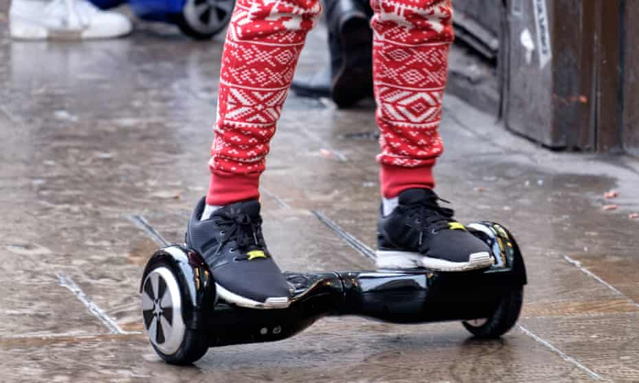A person using a hoverboard