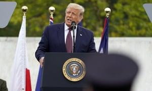 Donald Trump speaks on the 19th anniversary of the 9/11 terrorist attacks, at Flight 93 National Memorial near Shanksville, Pennsylvania.