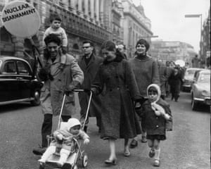 Ban the bomb with baby … nuclear protesters in Trafalgar Square in1958.
