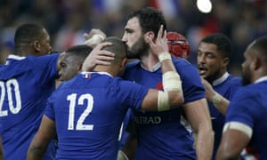 France celebrate victory over England on the first weekend; the French have won both their opening two matches but only Italy have conceded more tries than them so far.