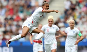 Nikita Parris celebrates after her first-half penalty gives England the lead