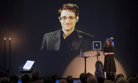 Edward Snowden appears via videolink as he is awarded the Bjornson prize.