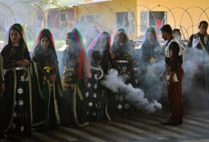 A group of Nymphs are blessed with incense