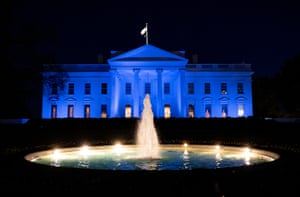 The White House is lit up in blue for World Autism Awareness Day in Washington DC, US