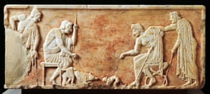 Stele depicting a fight between a dog and a cat in 510BC, from the Kerameikos necropolis in Athens, Greece.