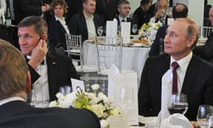 Michael Flynn and Vladimir Putin at a 2015 dinner for the RT news channel in Moscow.
