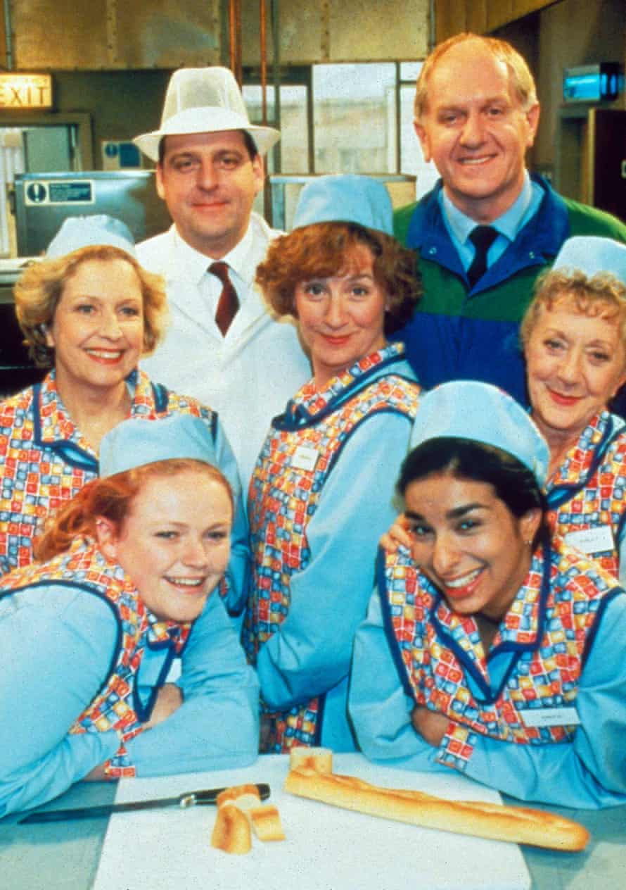 Silver service: in Dinnerladies, where she made her debut (with Anne Reid, Andrew Dunn, Victoria Wood, Duncan Preston, Shobna Gulati and Thelma Barlow).