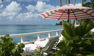 Sea view: the beach balcony at Cobblers Cove hotel