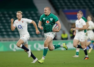 Ireland's Jacob Stockdale scores their first try.