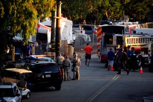 Security measures are taken after a mass shooting at the Garlic Festival in Gilroy, California.