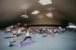Cooling respite … a yoga class at the National Kaohsiung Centre.