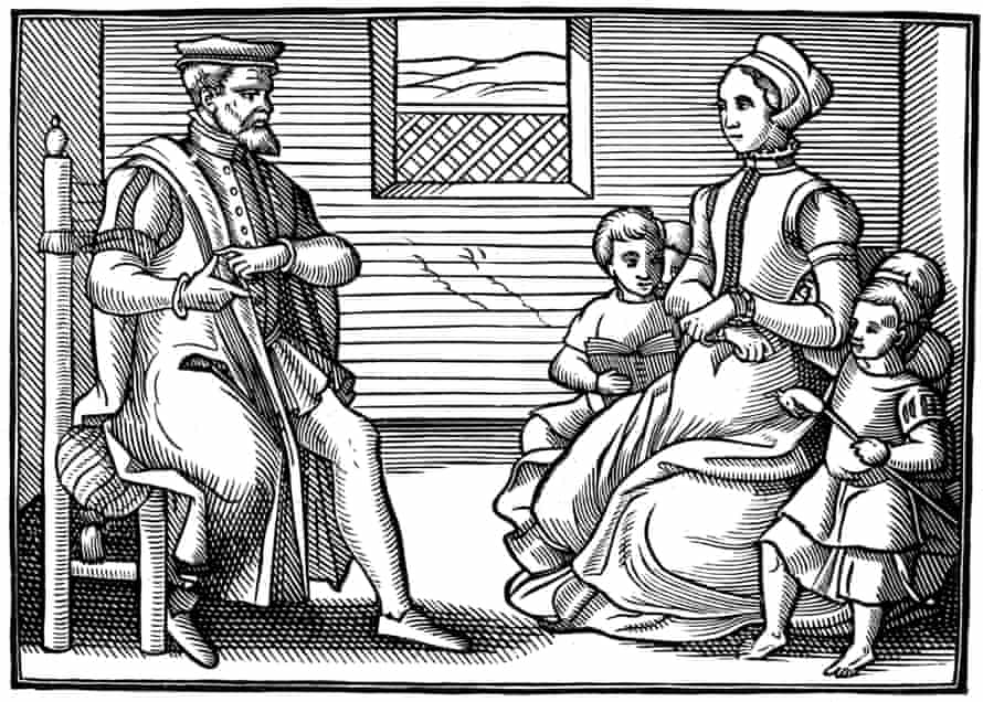 Puritan values … A father teaches his family psalms rather than 'vayne and tryflying' ballads, 1563.