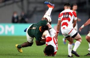 South Africa's Tendai Mtawarira received a yellow card for dump tackling Japan's Keita Inagaki.