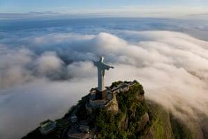 The giant art deco statue of Cristo Redentor (Christ Redeemer) on Corcovado mountain in Rio de Janeiro