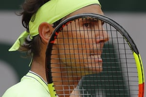 A celebratory grimace from Rafael Nadal as he takes the first set.