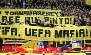 A free Rui Pinto banner held by Borussia Dortmund fans at Wembley this month.