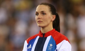 2012 cycling silver medallist Victoria Pendleton on the podium.