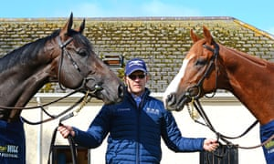 Aidan O'Brien shows off Sir Dragonet (left) and Il Paradiso, who are likelely to be his main contenders for the St Leger at Doncaster on Saturday week.
