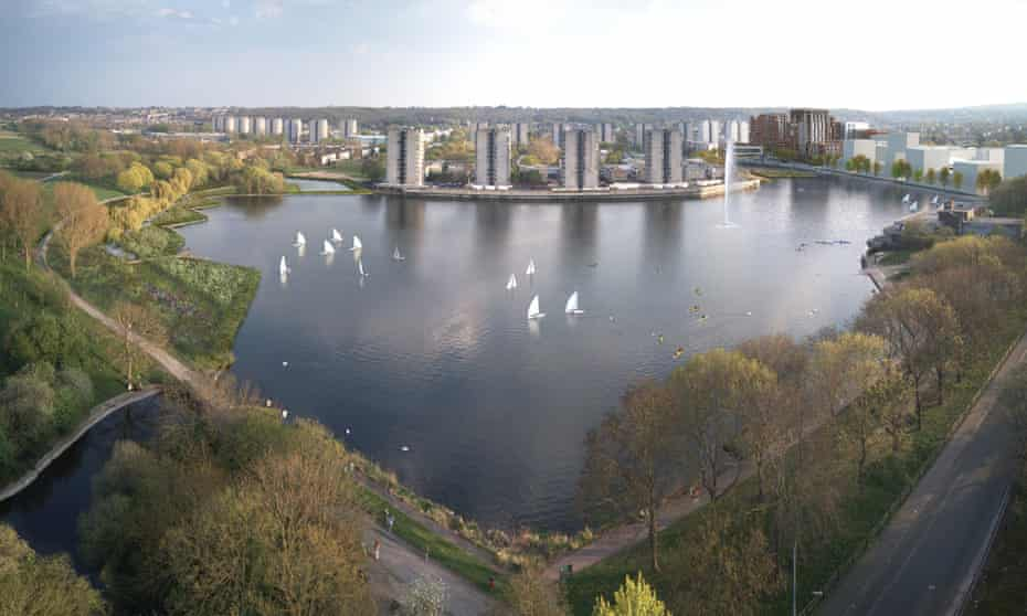 A CGI of how Thamesmead's Southmere Lake will look post-regeneration.