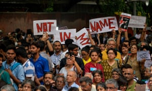 Protesters in New Delhi on Wednesday against the spate of anti-Muslim killings.