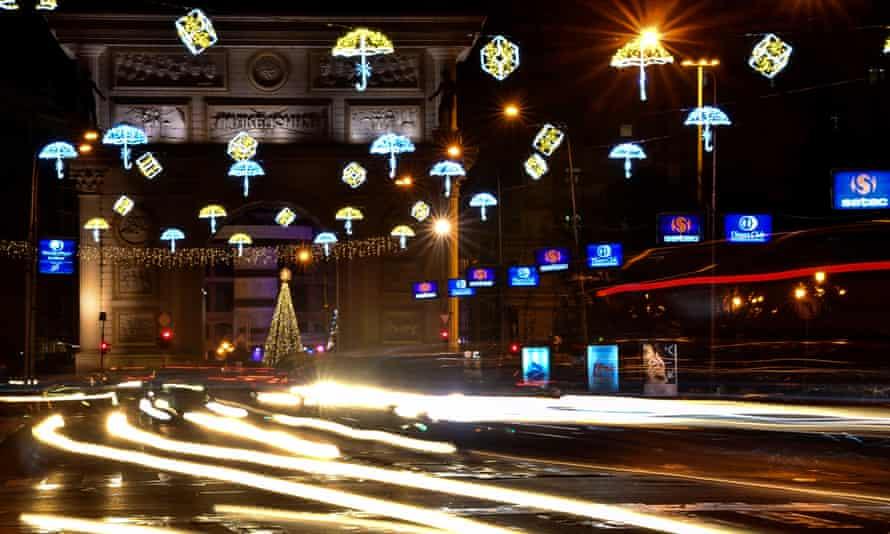 Christmas decorations in Skopje.