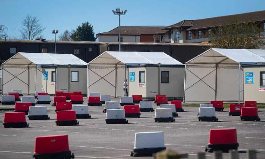 An empty coronavirus testing site at Chessington World of Adventures