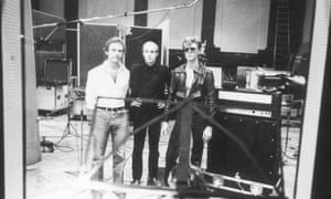 Robert Fripp, producer, composer and songwriter Brian Eno and singer and songwriter David Bowie at Hansa Tonstudio aka Hansa by the Wall