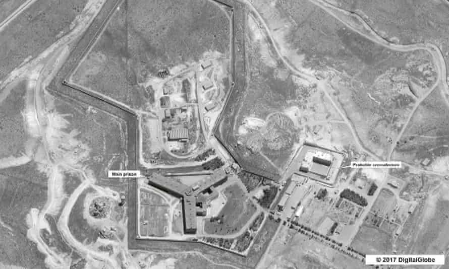 A satellite image of the Saydnaya prison complex, outside Damascus