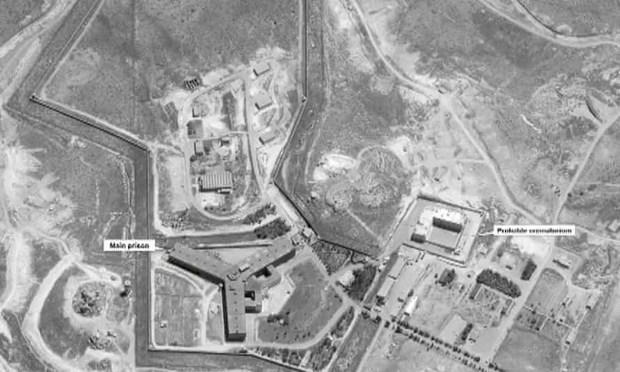 Satellite image on 18 April 2017 of a suspected crematorium (facility at right, in picture) at the Saydnaya complex, outside Damascus, Syria
