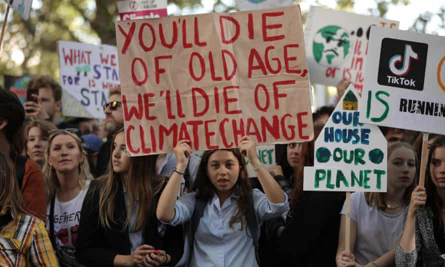 A placard at the Global Climate Strike in London, on September 20, 2019, reads: 'You will die of old age; we will die of climate change.'